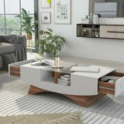 Coffee Table Modern Storage Shelves Living Room Furniture Side End Drawers New