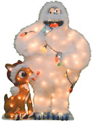 Cc Home Furnishings 32 White Lighted Rudolph And Bumble 2d Christmas Outdoor De