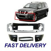 New Set Of 5 Front Bumper With Fillers And Bumper Ends Fits Nissan Armada Titan
