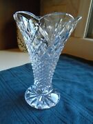 Beautiful Waterford Crystal Scalloped Edged Trumpet Shaped Vase 8 Inches Tall