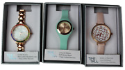 Time And Tru 3 Watches Crystal Accents, Mother Of Pearl Dial, Soft Silicone Band