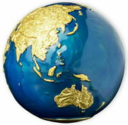 2021 Barbados 5 Blue Marble Earth Spherical Gold 24k Plate 3oz Silver 999 Made