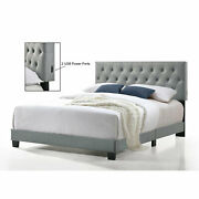 Belle Isle Furniture Royale Tufted Bed With Usb Power Connection Gray Full