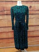 Vintage Petite Lanz Made In The Usa Black Multi-color Dress Size 12 Petite