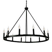 Canyon Home Cahua 8 Light Drum Chandelier 16 Wide Steel Frame With Wooden Patt