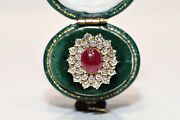 Vintage 18k Gold Natural Diamond And Cabochon Ruby Decorated Pretty Ring