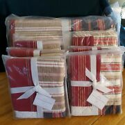 New Pottery Barn Multi Stripe Patchwork King Quilt W/ 3 Euro And 3 Standard Shams