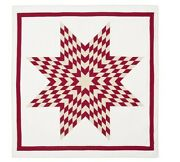 New Pottery Barn King Red Starburst Patchwork Quilt W/ 3 Euro And 3 Standard Shams
