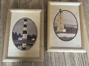 Hudson River Inlay Wood Marquetry Jeff Nelson Bodie Island Sandyhook Lighthouse