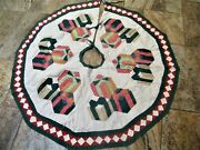 Vintage Feedsack Quilt Christmas Tree Skirt Handmade Wrapped Holiday Presents