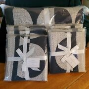 New Pottery Barn King Navy Circles Patchwork Quilt W/ 3 Euro And 3 Standard Shams