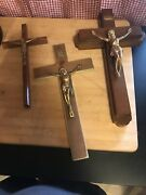 Lot Of 3 Vintage Crucifix Cross Of Jesus Inri Holy Religion Wall Art Sick Call