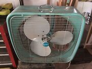 Vintage Midcentury Dominion Box Fan - Teal - Works - Local Pickup Only - Florida