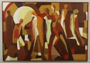 Arnold Weber American Abstract Expressionist Nude Bodies Signed Dat 1967