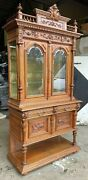 Antique Carved Walnut French Display Cabinet Ca 1890