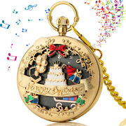 Musical Movement Pocket Watch Silver/gold/rosegold Happy Birthday Music Watches