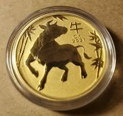 2021 1/2oz .9999 Gold Year Of The Ox - Perth Mint W/capsule