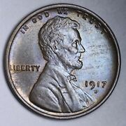 1917-d Lincoln Wheat Cent Penny Choice Bu Uncirculated Ms Free P/h E171 Khm