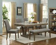 Beautiful Elegant Design Dining Room Set 6-pc Table Upholstered Chair Bench Wood