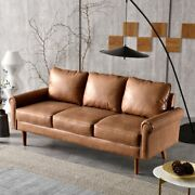 Faux Leather Sofa Modern Couch Living Room Chair Furniture Round Arm Brown New