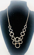 """Large Sterling Silver Bib Necklace Modernist Rings 37gms 18"""" Vintage Jewelry"""