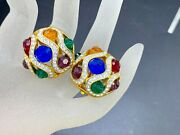 Vintage Gold Plated Multi Color Glass Antique Style Earrings Joan Rivers Signed