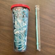 Starbucks 24 Oz Tumbler Tropical Blue Green Floral 2017 Cold Cup Red Lid