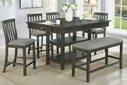 6pc Beautiful Counter Height Wooden Dining Room Set Table Chair Bench Upholstery