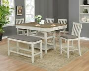 Beautiful 6pc Counter Height Wooden Dining Room Set Table Chair Bench Upholstery