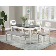 Beautiful Classic Design Wooden Dining Room Set 6pc Table Chair Bench Upholstery