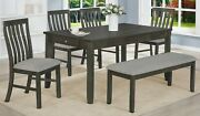 Beautiful Classic Design Wooden Dining Room Set 6pc Table Upholstery Chair Bench
