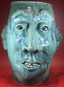 1 Of A Kind Artist Signed Vintage Face Head Vase Art Size 10.50andrdquoh X 9.00andrdquow
