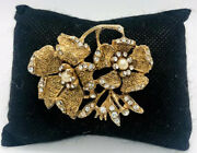 Hobeandrsquo Rhinestone Tipped Flower Brooch Signed Textured Faux Pearl Vintage Jewelry