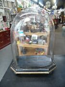 Antique Victorian Oval Glass Dome And Stand