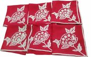Williams Sonoma Red Linen Napkins Set Of 6 Embroidered Crewel Design Christmas