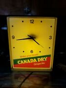 Soda Clock Canada Dry Ginger Ale Lighted 70's Vintage Working