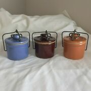 Small Vintage Stoneware Cheese Crocks W/locking Wire Bale Handle 3 Count