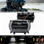 Motorcycle Dual Led Headlight Projector Headlamp Kit For Harley Road Glide Black