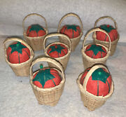 Vintage 2.5andrdquo Collectible Sewing Pin Cushion Small Wicker Basket W Tomato