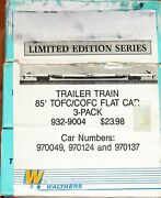 Walthers 932-9004 85and039 Tofc/cofc Flat Car Kit 3-pack Trailer Train Ttx