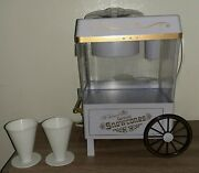 Vintage Nostalgia Old Fashioned Carnival Snow Cone Maker W/ Ice Scoop And 2 Cups