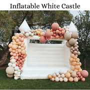 Inflatable Bounce House White Castle Blower Jumper Bouncer Kids Wedding Party