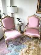 Chairs Gilded Pink Silk Wood New Restored Antique Louis French Pair