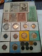 Wwii German Money 17 Coins And 3 Paper Bills