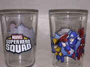 Lot Of 2 Marvel Super Hero Squad Collector's Small Glasses