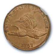 1857 1c Flying Eagle Cent Ngc Ms 63 Uncirculated Cac Approved Nice
