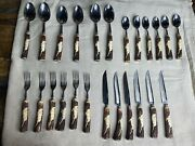 Solingen Rostfrei Stainless Hand Forged Carved Stag Handles 24 Pcs Utensil Set