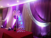 Hot Wedding Party Decor Backdrop Pleated Background Silver Sequin Curtain Swag
