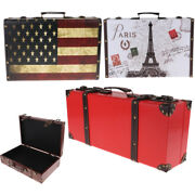 Suitcase Decoration Jewelry Gift Box Wooden Case Vintage For Window Display