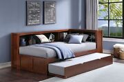 Dark Cherry Twin Corner Bookcase Bed With Trundle Bedroom Furniture